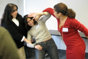 Heather Conn (center) at an NYCSSF professional development workshop in 2008.