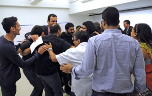 "A tableau depicting ""Unity"" resulted in a 24-Country group hug"