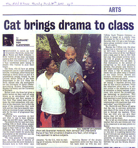 Article about CAT's work in South Africa; The Natal Witness, 2000